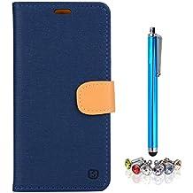 A9H Meizu M2 Note (Meilan Note 2)Funda Protectiva Carcasa Cuero Resistente Cierre Magnético,carcasa en folio, soporte plegable,ranuras para tarjetas-deep blue