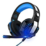 GreensKon Gaming Headset Kopfhörer mit Mikrofon USB/3.5mm On Ear Surround Sound Ohrhörer und Lautstärkeregelung für PS4 Xbox One PC Laptop Tablet Blau(GM-2)
