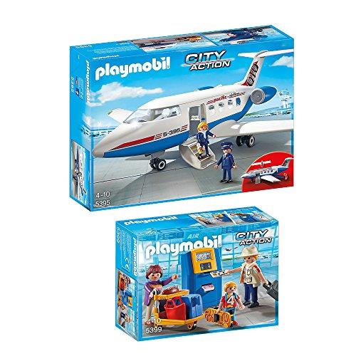 Preisvergleich Produktbild PLAYMOBIL® City Action 2er Set 5395 5399 Passagierflugzeug & Familie am Check-in Automat