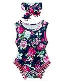 chicolife Baby-Mädchen Kleider Floral Blume Bodysuit Strampler Overall Einteiler mit Stirnband Outfits