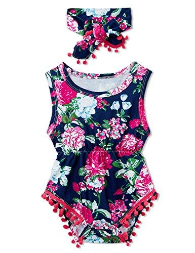 chicolife Baby-Mädchen Kleider Floral Blume Bodysuit Strampler Overall Einteiler mit Stirnband Outfits (Bodysuit Baby Kleid)