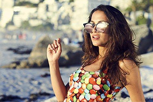 Cheapass Sunglasses Clubmaster Miroitant Rétro Femmes Hommes Noir11