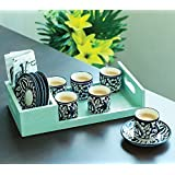 OJOS- Hand-Painted Mughal Tea Set Blue with Saucers - Set of 6 - Royal Tea Cups with Sources Mughal Handpainted Cup Saucer (Set Of 6) Cups - Tea cups and Saucers Set ( 6 Cups, 6 Saucers, Blue, Ceramic, Handpainted , 150 ml Capacity) | 100% Microwave Safe and Food Safe | Blue Pottery Hand Painted and Handmade Cup Set For Home and Kitchen| Tea Coffee Cups Royal