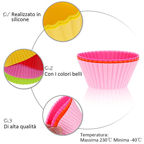 % Anpro 32 pezzi Pirottini da forno riutilizzabili in silicone per alimenti, Stampi da Muffin per Pastichieria,Cupcake,Torta e Muffin confronta il prezzo online
