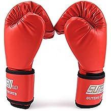 1 par de la PU Taekwondo Karate Kickboxing Muay Thai combate de entrenamiento guantes llena de mano / guantes para niños con abrigo de la muñeca Guantes de saco de boxeo (rojo)