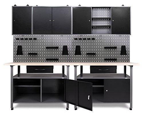 Ondis24 Werkstatteinrichtung Klaus, 7-teilig, Metall, TÜV/GS, 3 Werkstattschränke, Lochwand, Hakensortiment (Arbeitshöhe 85 cm, Schwarz)