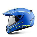 CASCOEN Casco moto nero Casco moto integrale equitazione Motocross Avventura uomo moto Downhill DH Racing Moto DOT Blue M