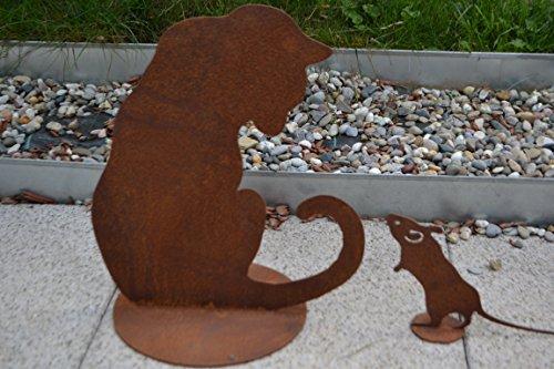 floristikvergleich.de Katze aus Stahl mit Edelrost auf Platte- Qualitativ hochwertig – für die Dekoration auf Balkon, Terrase und Garten