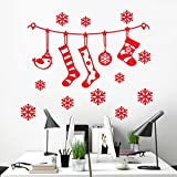 2018 Hot Sale !!! Vovotrade®Christmas Wall Window Stickers Xmas Sock Snowflake Vinyl Decals Art Decoration wall Sticker(60*50CM) (Red)