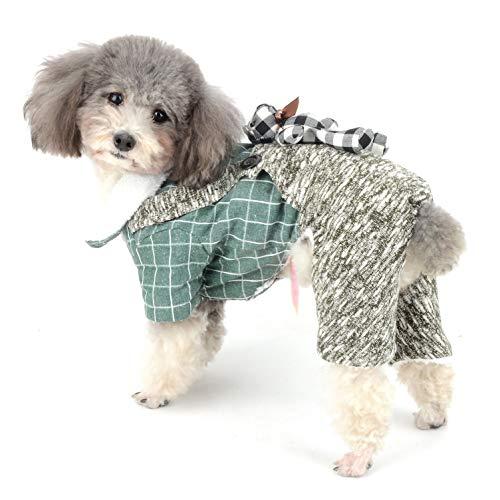 Ranphy Hundemantel Jumpsuit Winter Overall Chihuahua Kleidung Welpen Fleece gefüttert Karo Outfit Warm Yorkie Kleidung Mädchen Junge für kleine Hunde Katze