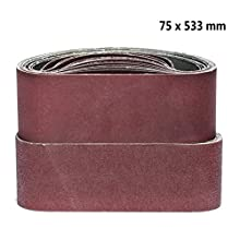 Sanding belts, 75 x 533 mm each 5 x grain 40/60/80/120/180 for belt sanders Sanding paper sanding belt set 25 pieces