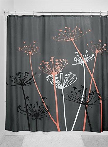 mDesign Duschvorhang Anti-Schimmel - 180 cm x 200 cm - grau- / korallefarbender Dusch- & Badewannenvorhang - Duschvorhang wasserabweisend - 12 verstärkte Metallösen für einfache Aufhängung