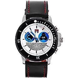 Leopard Shop TVG 469 Digital Quartz Sport Wristwatch Double Movt Men Watch Day Alarm Luminous LED Display Chronograph Blue White