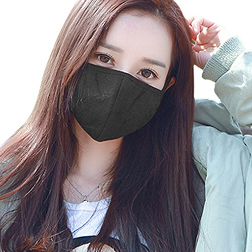 3er-Set Schutzmasken gegen Staub/Smog PM2.5 aus Baumwolle Warm Atmungsaktiv Gesundheitsvorsorge Earloop Mund Gesicht Unisex für Herbst und Winter., Schwarz (3 Stück)