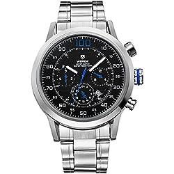 Alienwork Quartz Watch XXL Oversized Wristwatch Multi-function Metal black silver OS.WH-3311-3