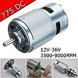Alta Velocidad eléctrica 775 DC 12V-24V 3500-9000rpm Motor de Alta Potencia  Rodamiento 059e3056dc40