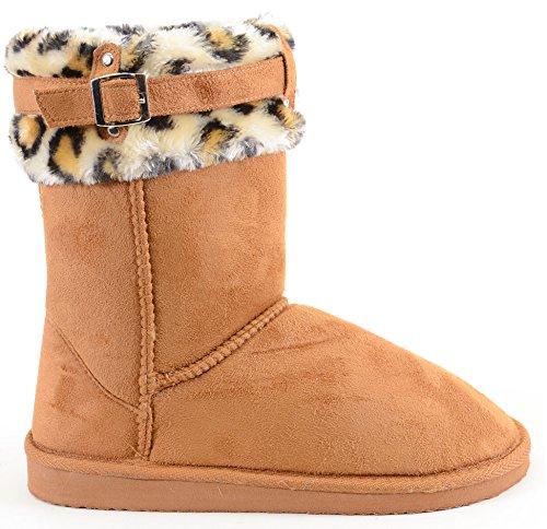 Funky Fourever da donna in pelle scamosciata sintetica, motivo leopardato, con fibbia, Polsini di pelliccia, caldo A-Camel