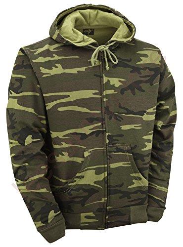 Felpa con cappuccio e zip, colore: mimetico, colore: Verde mimetico Mimetico legno