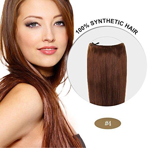 Secret Hair/ Flip-In Hair 20 Inches Invisible Attached Straight Hair / Balabella Hair (Medium Brown(#4))