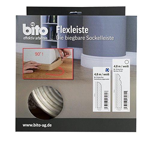 Flexible Sockelleiste, biegbare Fußbodenleiste, rundes Profil, 69x10 mm, 4,8 Meter, Farbe weiß