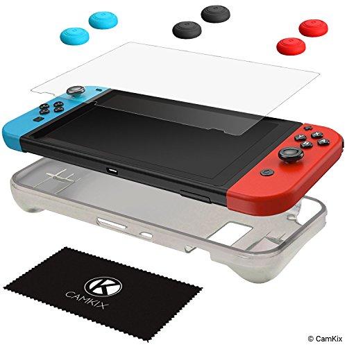 CamKix® Schutz-Kit kompatibel mit Nintendo Switch: 1x Silikonhülle TPU (Schwarz), 1x Anti-Kratz Displayschutzfolie und 6X Daumengriffkappe / Joystick Tastenabdeckung (2X Rot, 2X Blau und 2X Schwarz)