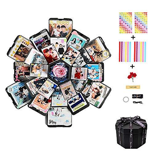 CHENYU Kreative Überraschung Box Explosions-Box DIY Geschenk Handgemachtes Scrapbook Faltendes Fotoalbum, Geschenkbox mit 6 Gesichtern, Geburtstag Jahrestag Valentine Hochzeit (Schwarz)