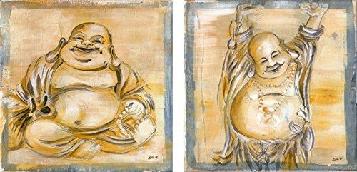 Artland Poster Kunstdruck aufgezogen auf Holz-Platte Wand-Bild Ellen F. Happy Buddha I, -II Fantasy & Mythologie Religion Buddhismus Malerei Creme 29 x 29 x 1,2 cm A6VV