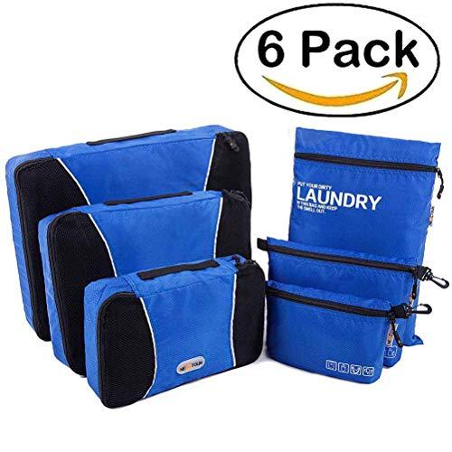 Wasserdichte Packwürfel Kleidertaschen Koffer organizer mit Wäschebeutel, Handgepäck und Seesäcke Kleidertaschen-Set 6 Stück