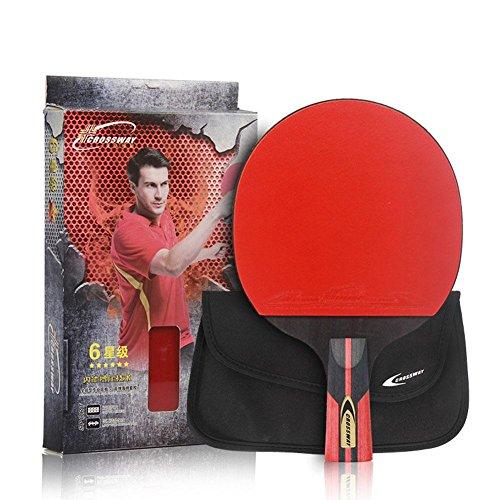 Prom-near Tischtennis-Set 6-Star Single Bat Stifthalter Shake-Hand Grip Doppelseitige Inverted Rubber Tischtennisschläger Ping Pong Schläger Paddel für im Freien Innen Sportaktivitäten