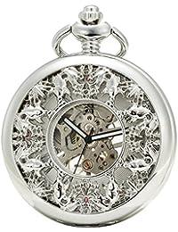 SEWOR Grace Koi esqueleto reloj de bolsillo plateado mecánica mano viento con funda de piel caja de regalo