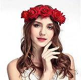 Rose Fleur Bandeau Couronne,Bandeau Cheveux Femme Mariage,Bandeau Cheveux Fille pour Fête Mariage Voyage