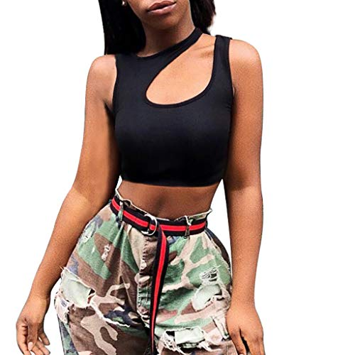 Mode Sport Fitness Sexy Weste Tank Top,Resplend Damen Aushöhlen Off Shoulder Slim Fit Sportweste Leibchen T-Shirt Crop Top
