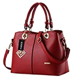 Tibes Ladies PU Leather Handbag with Shoulder Strap Wine Red
