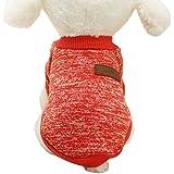 Caliente Ropa de Perros, Chaqueta Abrigo Cálido Suéter de Algodón de Invierno Otoño Suave Para Perros Pequeños Gatos Cachorros Mascotas,Rojo L