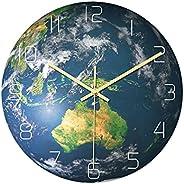 WUOOU Earth Wall Clock Luminous Glow in The Dark Hanging Clock Oceania Earth Wall Art Decorations for School O