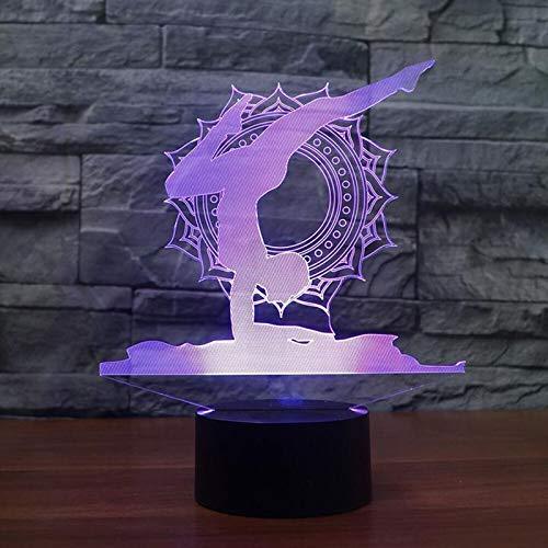 Illusion Optique 3D Yoga Nuit Lampe 7 Couleurs Changeantes Puissance USB Contact Switch Lampe Décorative LED Lampe de Table Anniversaire Noël Cadeau Enfants Jouets