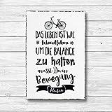 Das Leben ist wie Fahrrad fahren - Dekoschild Wandschild Holz Deko Wand Schild 20x30cm Holzdeko Holzbild Geschenk Mitbringsel Geburtstag