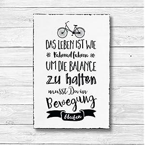 Das Leben ist wie Fahrrad fahren – Dekoschild Wandschild Holz Deko Wand Schild 20x30cm Holzdeko Holzbild Geschenk Mitbringsel Geburtstag