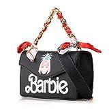 Barbie Sac à Dos de la série de Princesse Super Mode Mignon Loisir Populaire Femmes/Filles en PVC de couleur gelée avec des rivets # BBFB557 (noir)