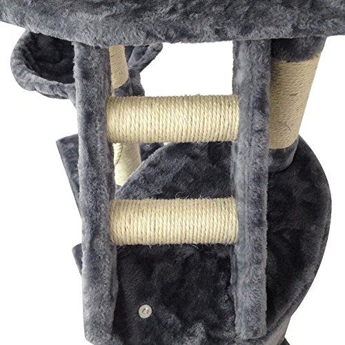 Todeco Árbol para Gatos, Escalador para Gatos - Material: MDF - Tamaño de la casa de gato: 30,0 x 30,0 x 42,9 cm - 120 cm, 5 plataformas, color Gris