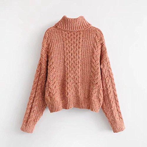YiLianDa Ciniglia Maglione Maglia Donne Alta Colletto Collare Allentato Mode Maglioni Knit Inverno Rosa Arancio