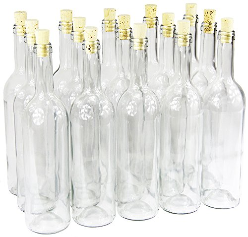 Weinflasche 750 ml ohne/mit Korken Glasflasche leere Flasche Likör Wein 3 Farben (8 Stk. mit Korken, Weiß)