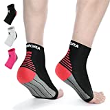 Rymora Plantar Fasciitis Foot Compression Sock Sleeves for Men and Women - Relieves Pain - Supports Heel, Arch & Ankle (One Pair) (Black) (Small: 16-21cm Arch Circumference)