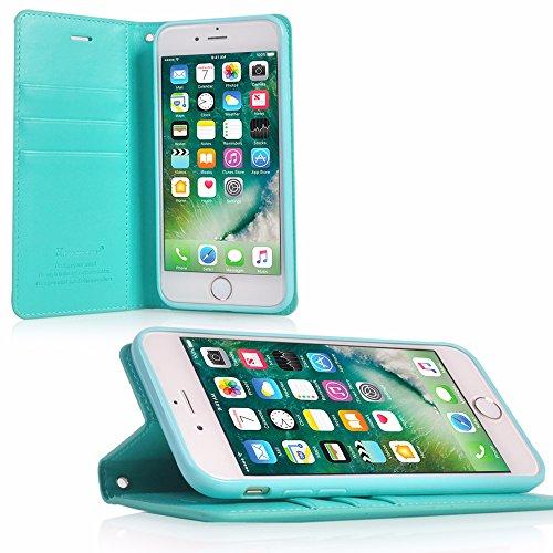 UKDANDANWEI Apple iPhone 6s Coque, Supporter Flip PU Cuir Pochette Portefeuille Housse Coque attache Etui pour Apple iPhone 6s - Violet Turquoise