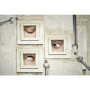 PB Three Human Eyes Canvas Painting 6mm Thick MDF Frame 23.8 x 16inch