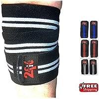 2Fit rodilla correas de levantamiento de pesas envuelve vendaje elástico edificio señoras almohadillas de entrenamiento gimnasio cuerpo blanco y azul