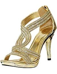 ROCK ON Styles Nuevo Mujer Dorado Fiesta pedrería tiras en Tobillo Tacón Bajo Medio Zapatos De Plataforma Sandalias 66-06
