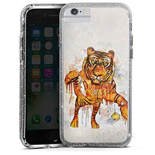Apple iPhone X Bumper Hülle Bumper Case Glitzer Hülle Tiger Raubkatze Watercolour Bumper Case Glitzer silber
