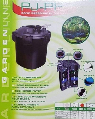 Pondlife Teichdruckfilter PJBF 8000 Komplett-Set bis 8000 Liter Teichvolumen, UV-C 9 Watt (Fisch Gereinigte)