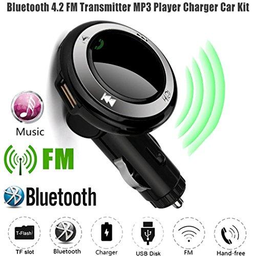 Jintime Auto FM Transmitter Q7 Wireless Bluetooth MP3-Player Auto Freisprecheinrichtung Bluetooth 4.2 + EDR LCD FM Transmitter mit MIC USB Ladegerät Geeignet für Android/iPhone (Black) Samsung Wireless Transmitter